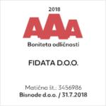 Certifikat odličnosti računovodskega servisa FIDATA